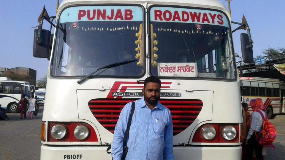 Satnam Singh, 35, has been working as a conductor with Punjab Roadways for nine years.