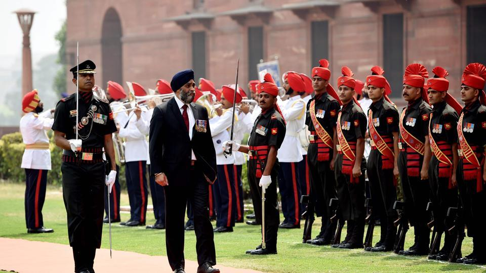 Canadian defence minister Harjit Singh Sajjan inspects a Guard of Honour prior to a meeting with Indian defence minister Arun Jaitley on April 18.
