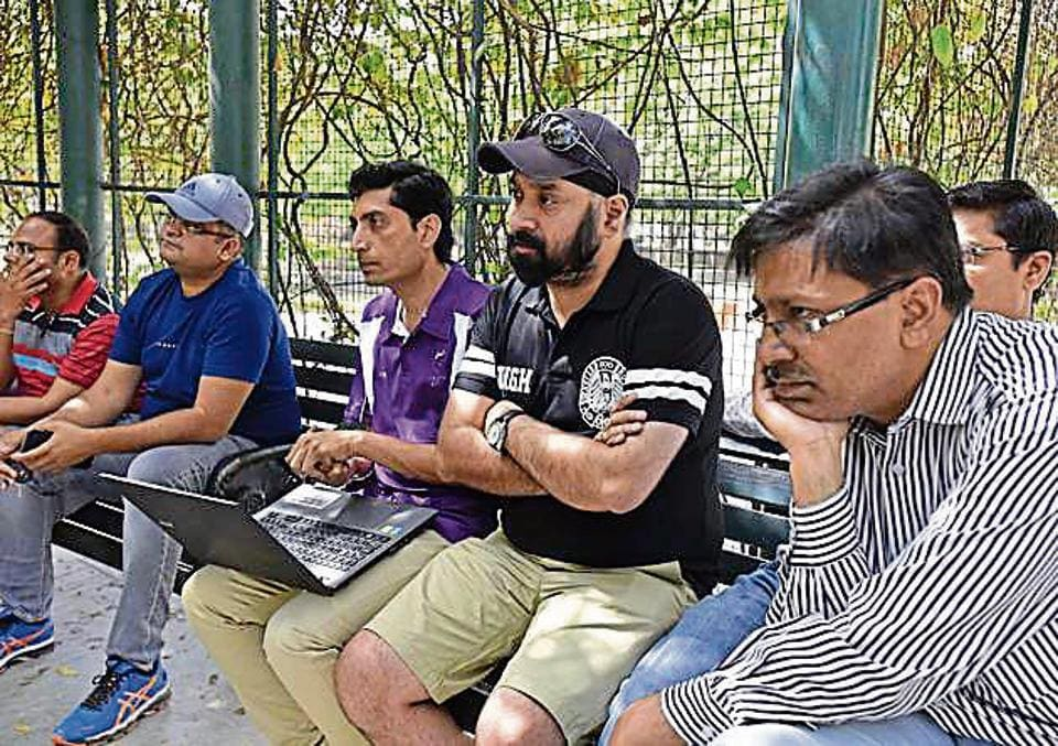 Parents during a meeting at Leisure Valley Park in Gurgaon, where they earlier held a man who was allegedly spying on them on the orders of the school he worked for.