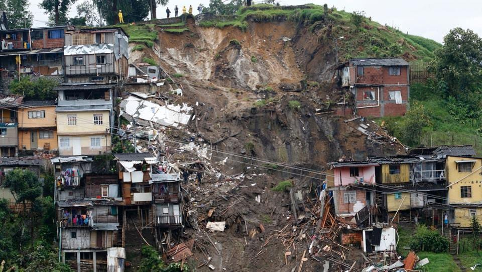 General view after mudslides in Manizales, Caldas department in Colombia on April 19, 2017.  (AFP)