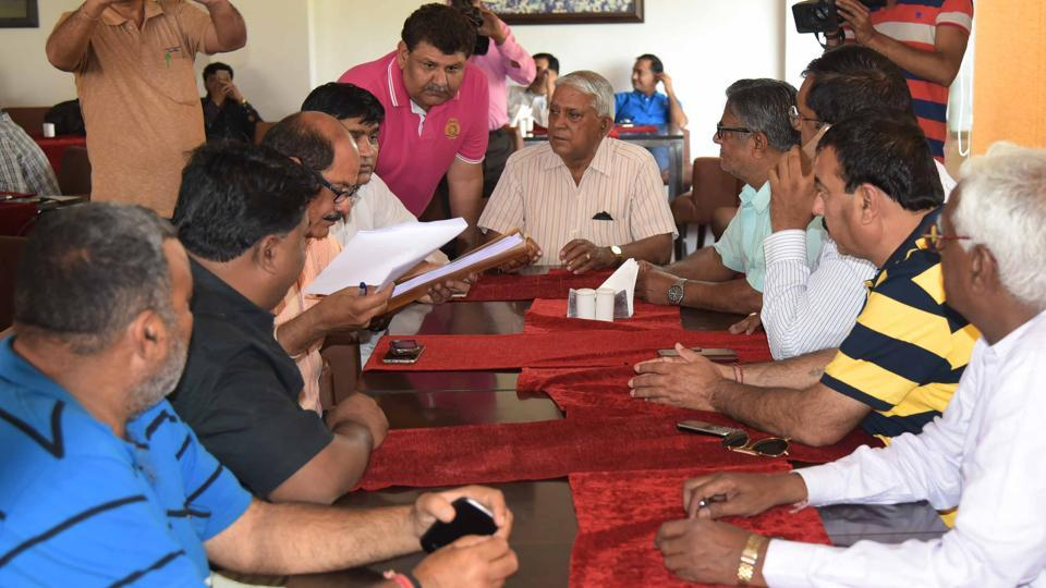 Office -bearers of district cricket associations in a meeting at SMS stadium in Jaipur on Sunday.