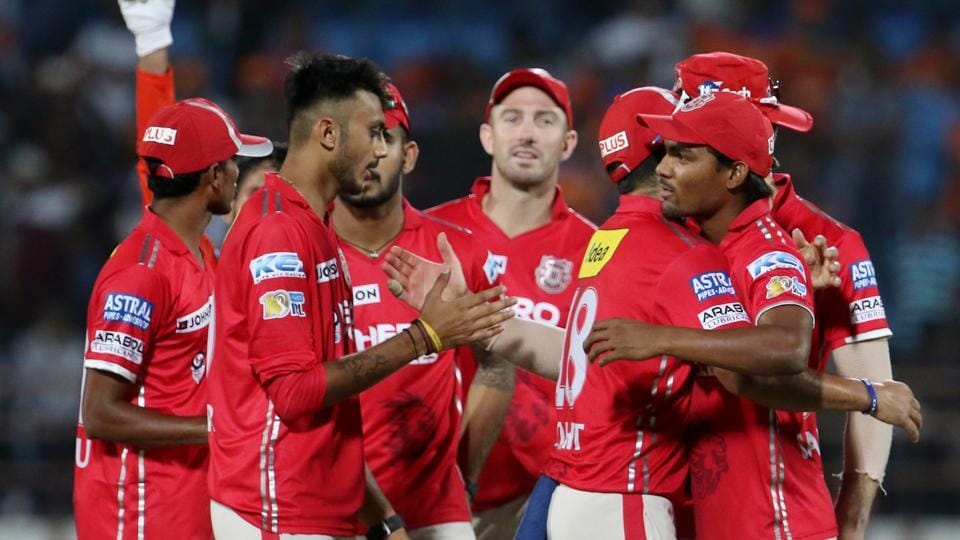 Kings XI Punjab players celebrate after their win over Gujarat Lions in the Indian Premier League (IPL) 2017.