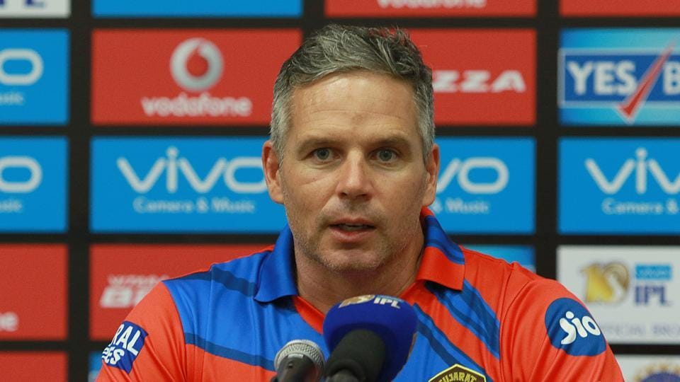 Gujarat Lions coach Brad Hodge at the press conference after their 2017 Indian Premier League match against Kings XI Punjab in Rajkot on Sunday.