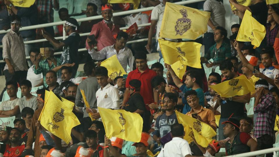 Fans during the 2017 Indian Premier League match between Kolkata Knight Riders and Royal Challengers Bangalore at Eden Gardens, Kolkata on Sunday.