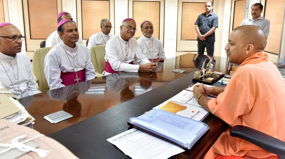 UP chief minister Yogi Adityanath meeting with a Christian delegation in Lucknow.