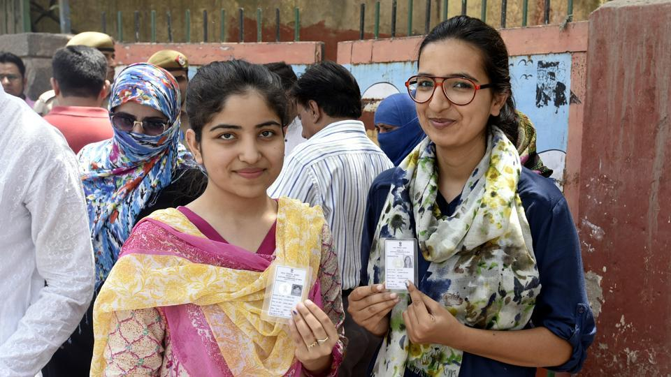 Women voters at a polling station at Jamia Nagar in New Delhi. With an electorate of almost 59 lakh, women this time came out in large numbers to vote for the candidate they thought could help them.