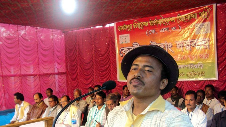 Former KLOmilitant Tom Adhikary addressing a public meeting in Jalpaiguri in 2011. He got bail last week.