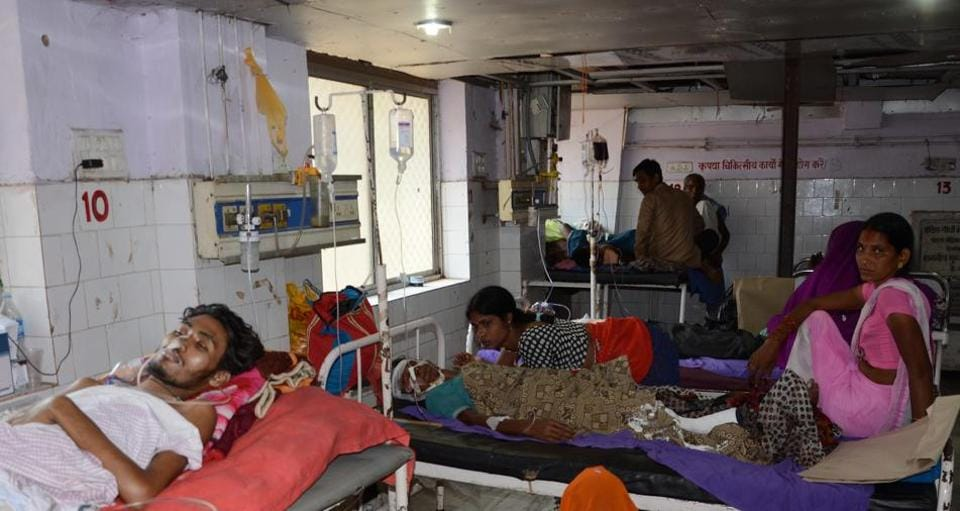 Patients lying unattended at the Patna Medical College Hospital in Patna.