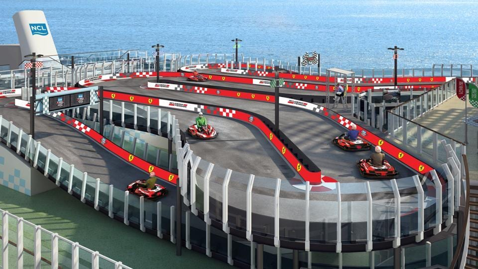 The Norwegian Joy will have a two-level race car track on the top deck, where up to 10 guests will be able to take a spin in electric go-carts at a time.