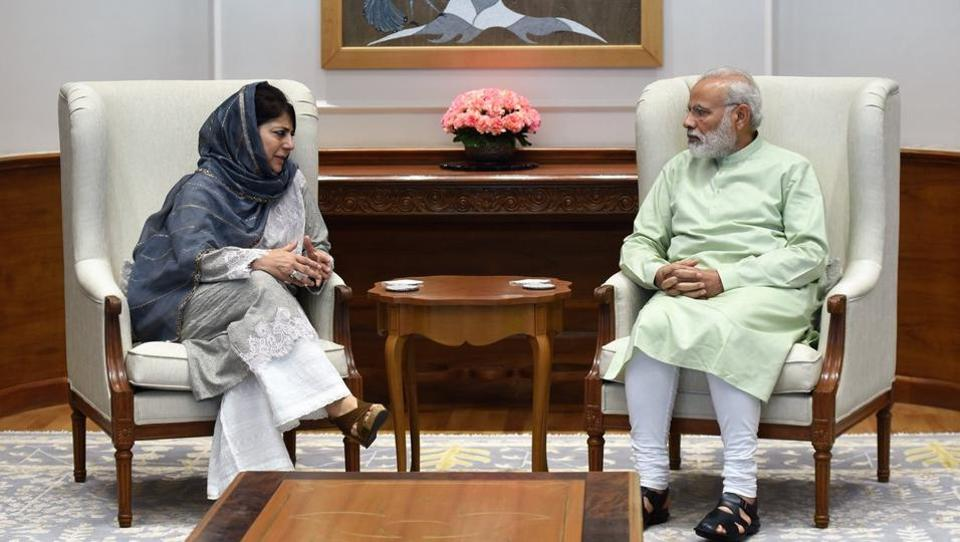Jammu and Kashmir chief minister Mehbooba Mufti met Prime Minister Narendra Modi on Monday as the state reeled due a wave of street protests.