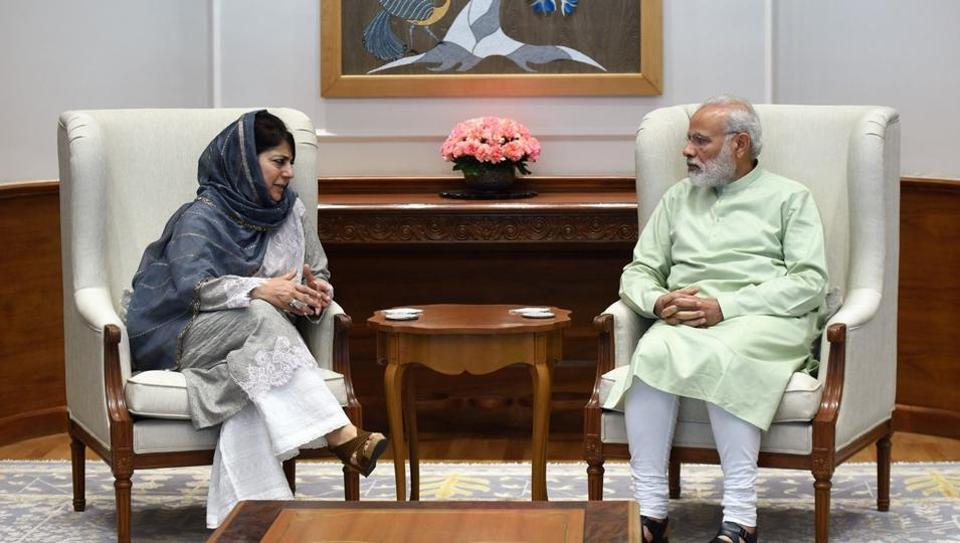 Mehbooba Mufti in a meeting with Prime Minister Narendra Modi, in New Delhi.