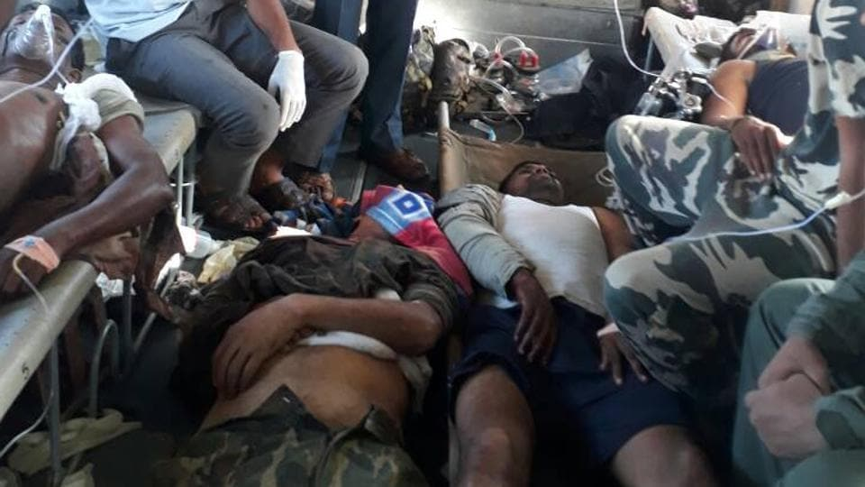 The injured CRPF jawans of the 74th battalion being shifted to a hospital in Raipur on Monday.