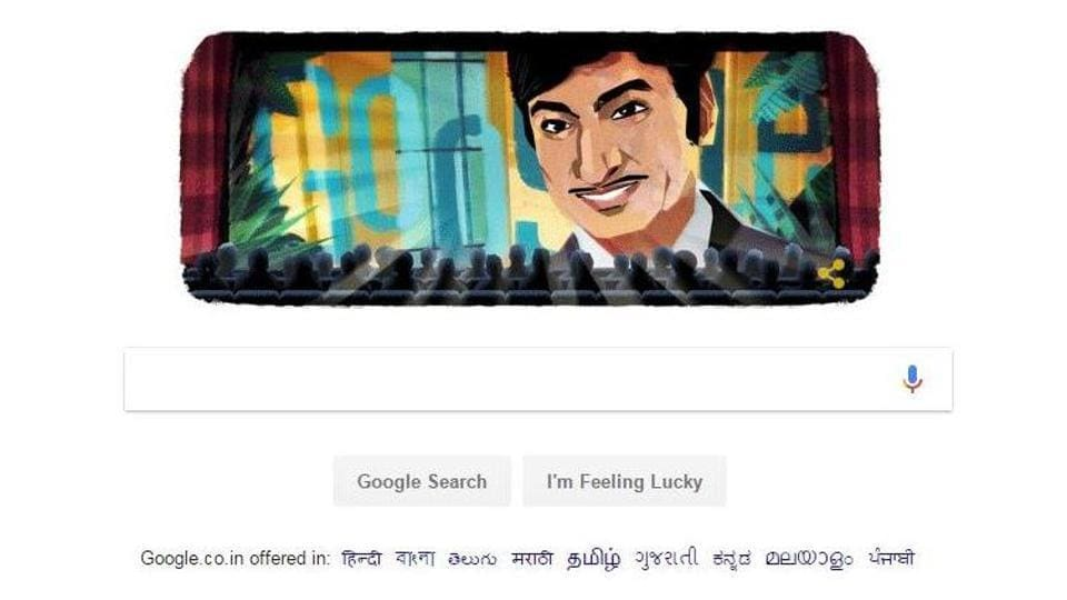 Kannada superstar Rajkumar,Google doodle Rajkumar,Ambrish Singanalluru Puttaswamayya Muthuraju