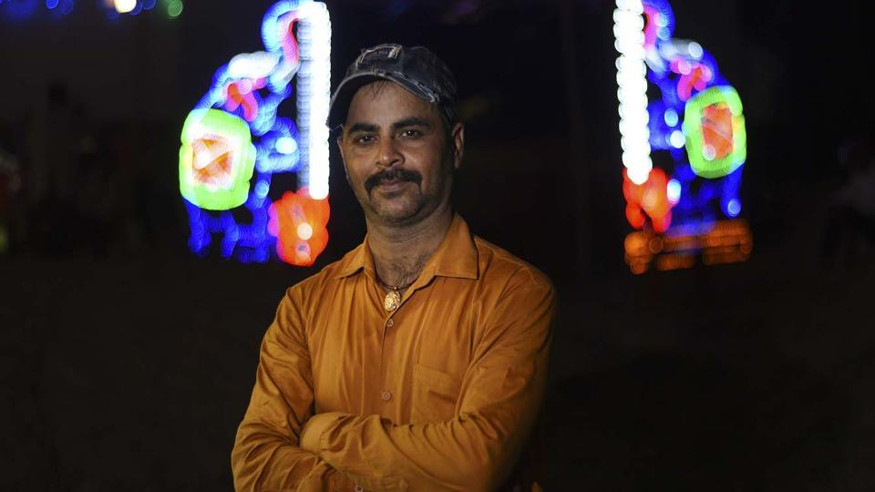 Pooja's husband and orchestra owner Ram Kumar Pandey, who has 14 girls on roster who dance all night to Bhojpuri songs laden with sexual innuendos at hotel parties, 'room parties', birthday functions and weddings. (Ravi Choudhary/HT PHOTO)