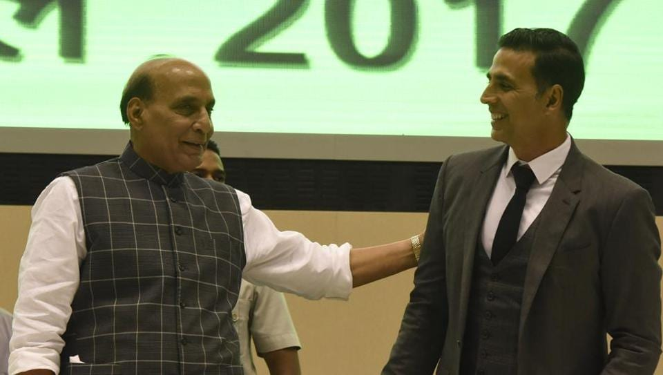 Union Home Minister Rajnath Singh with actor Akshay Kumar during the launch of web portal Bharat Ke Veer in New Delhi.