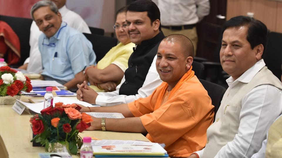 Yogi Adityanath and other BJP chief ministers including Sarbananda Sonowal and Manohar Parrikar at the BJP Chief Ministers' Council in New Delhi.