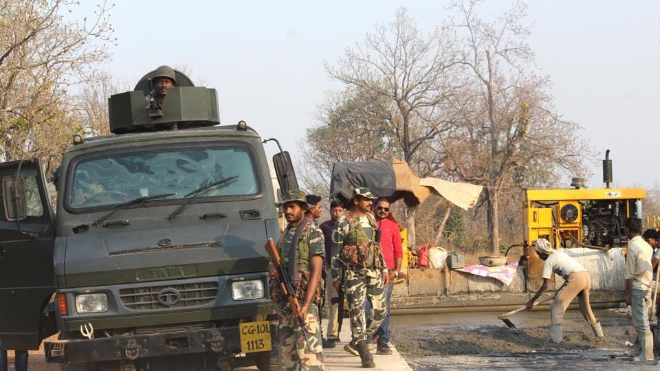 A CRPF road opening party at the Chhattisgarh ambush site where Maoists killed 12 personnel in March.