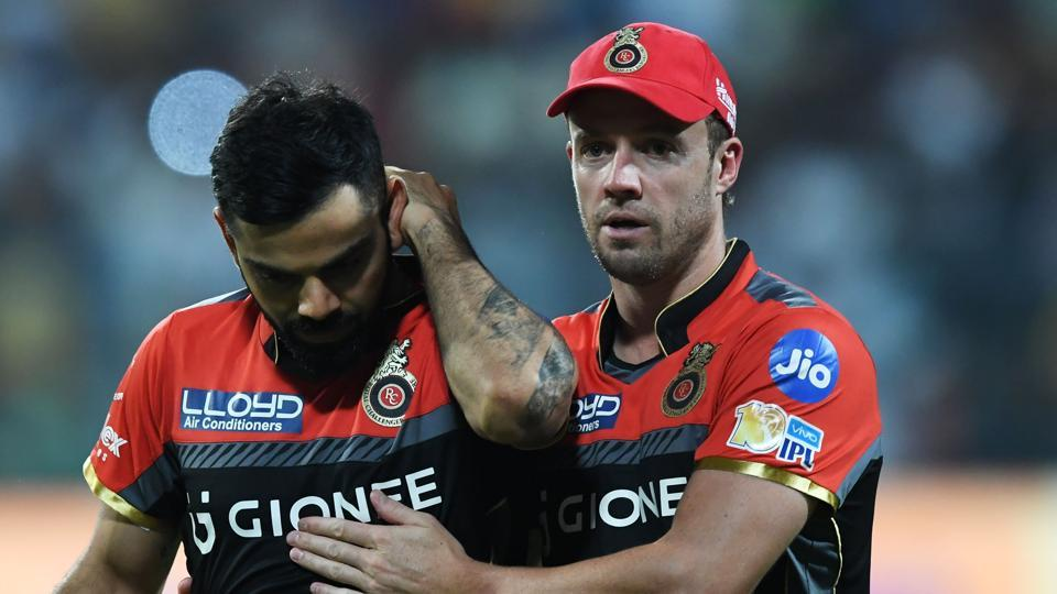Virat Kohli is consoled by AB de Villiers after Royal Challengers Bangalore's 82-run loss to Kolkata Knight Riders in an Indian Premier League (IPL) 2017 match.