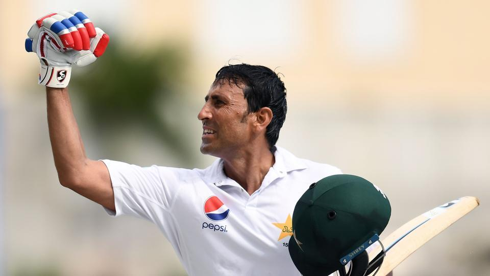Younis Khan celebrates after reaching his 10,000th run in Test matches on Day 3 of the West Indies vs Pakistan first Test.