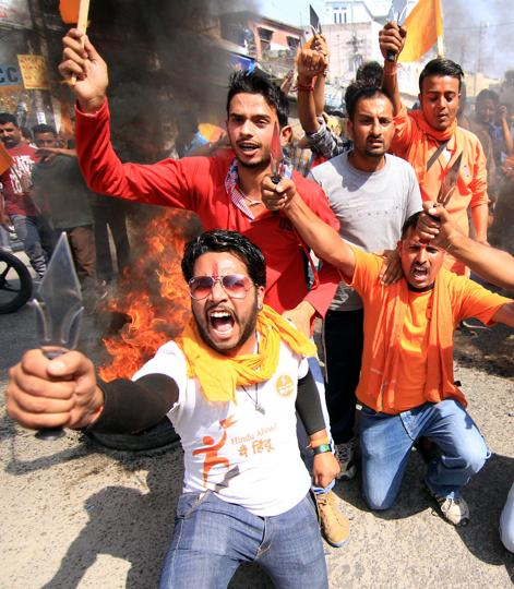 File photo of Bajrang Dal activists shouting slogans in Jammu.  The youth wing of the VHPwants the army to be given a 'free hand' to deal with stone pelters inKashmir valley.