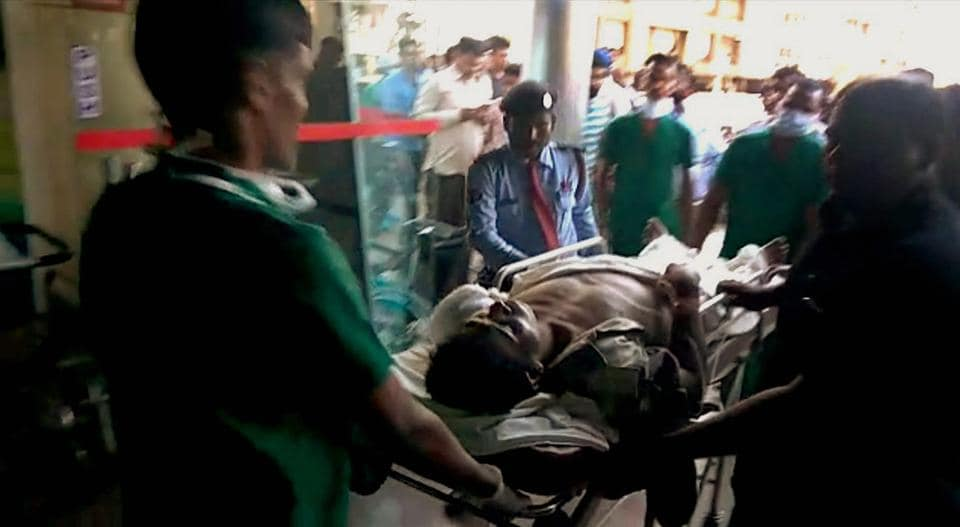 Injured CRPF personnel being brought to Raipur for treatment on Monday following a Maoist attack in Sukma.