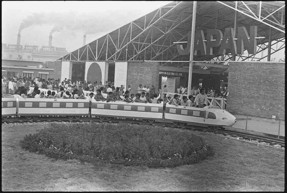 Japan Pavilion at Pragati Maidan during the first exhibition named , Asia '72. It is expected to compete with world's best exhibition complexes like Crystal Palace in London, Biosphere in Montreal and Eiffel Tower in Paris.  (Chawla / HT Photo)