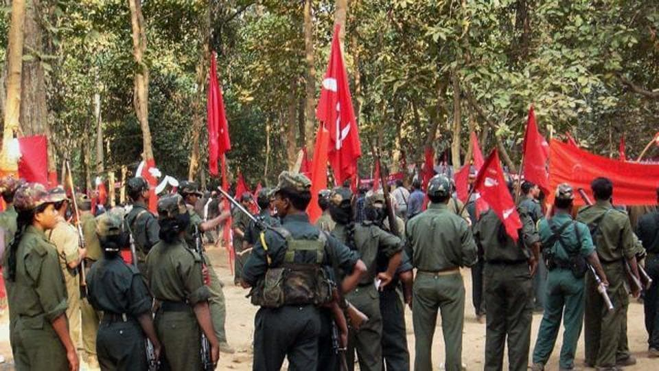 A gathering of Maoists at an undisclosed place in Chhattisgarh in March.