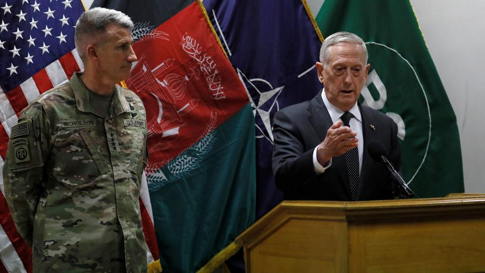 US defence secretary James Mattis (right) and US Army Gen John Nicholson (left), commander of US forces in Afghanistan, hold a news conference in Kabul, Afghanistan, on April 24, 2017.
