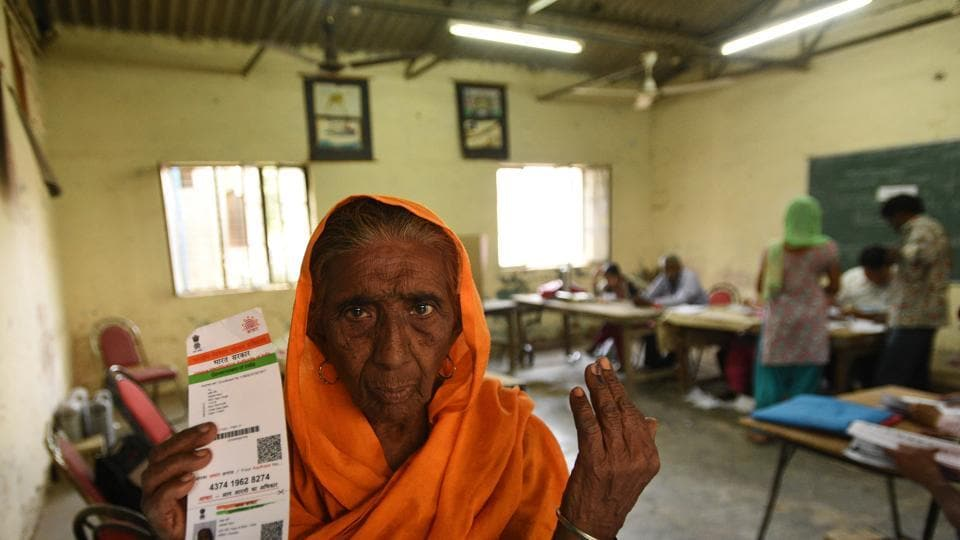 76 year-old Saheb Kaur poses for a picture after casting her vote at Kalyan Puri polling station.