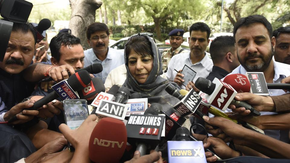 Jammu and Kashmir chief minister Mehbooba Mufti addresses the media after meeting Prime Minister Narendra Modi in New Delhi on Monday.