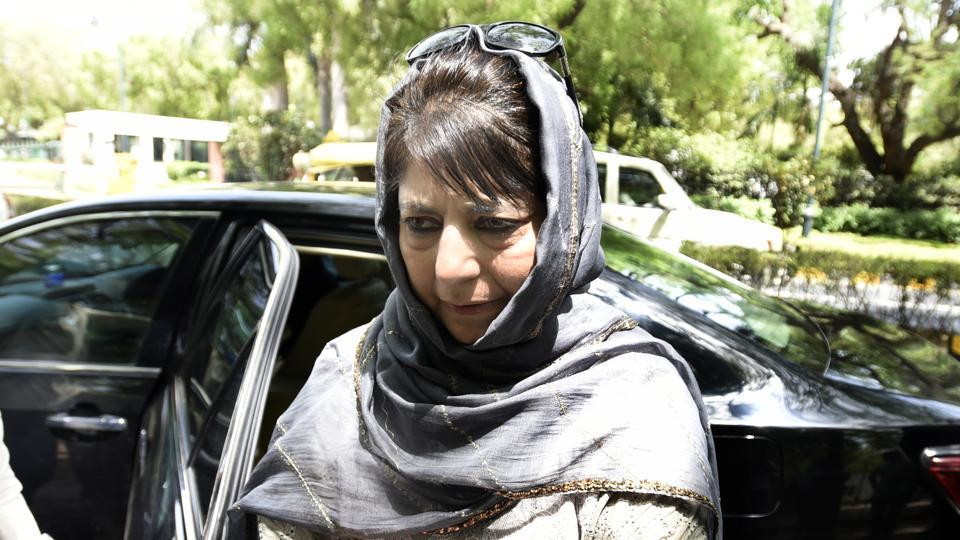 Jammu and Kashmir chief minister Mehbooba Mufti speaks to the press after her meeting with Prime Minister Narendra Modi in New Delhi on Monday.