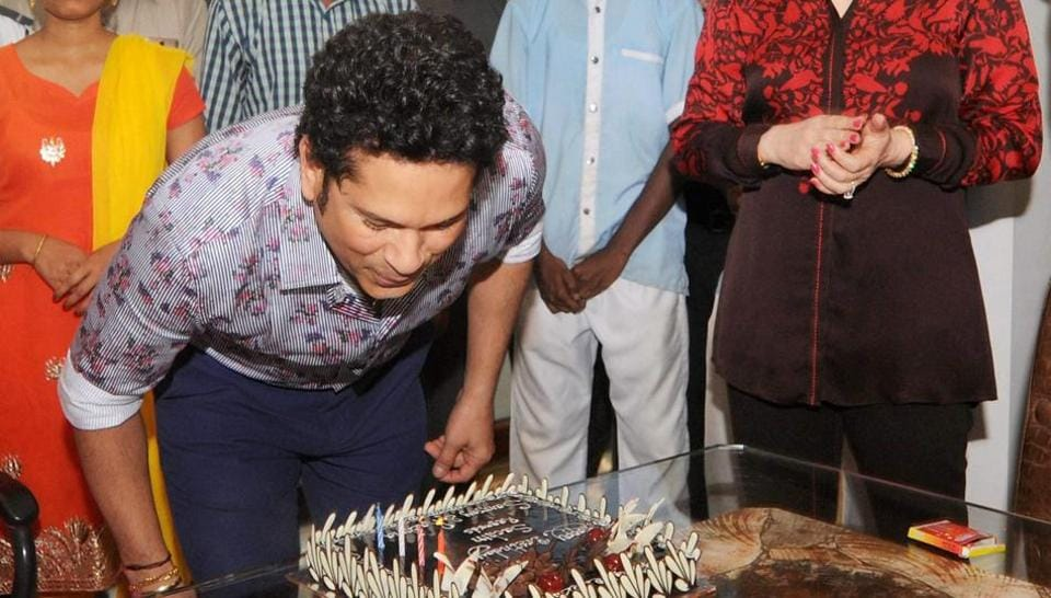 Sachin Tendulkar celebrates his 44th birthday with family and friends at his residence in Mumbai on Monday.