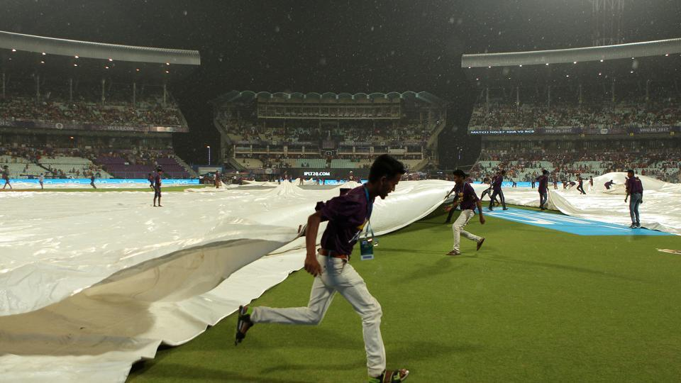 The start of the match between Kolkata Knight Riders and Royal Challengers Bangalore was delayed for 30 minutes due to rain. (BCCI)