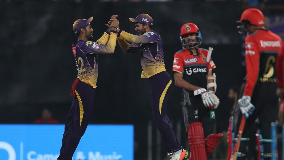 RCB were bowled out for 49, the lowest total in the history of the IPL as KKR secured an 82-run win. This win meant KKR were in second position while RCB languished at the bottom. (BCCI)