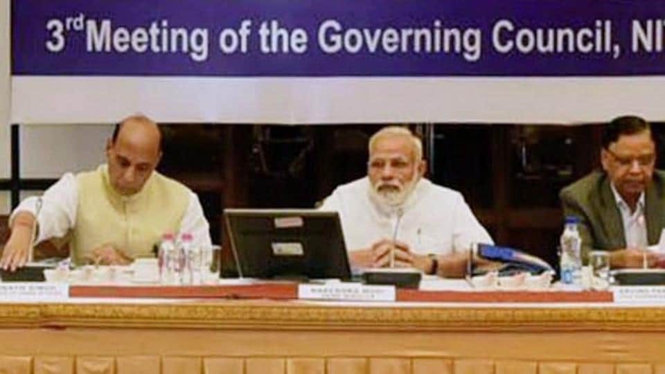 Prime Minister Narendra Modi chairing the third governing council meet of the NITI Aayog, in New Delhi on Sunday.