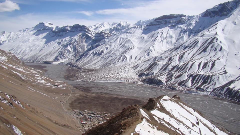 A bird's eye view of Kaza town (centre below) as seen from the road to Komic village. The Spiti river flows through the valley till it enters Kinnaur where it merges with the Satluj river. (Amandeep Singh Kalra)