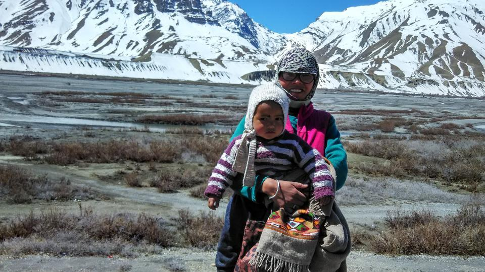 A passerby smiles at the camera on the road to Losar. Outsiders in the winter are infrequent if not rare as night time temperatures can dip to -30 degrees. (Amandeep Singh Kalra)