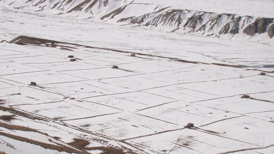 The flat plains of Kaza covered in snow as seen from the road to Key monastery. (Amandeep Singh Kalra)