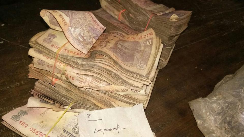 The wild elephants left behind the bundles of lower currency notes in the box.