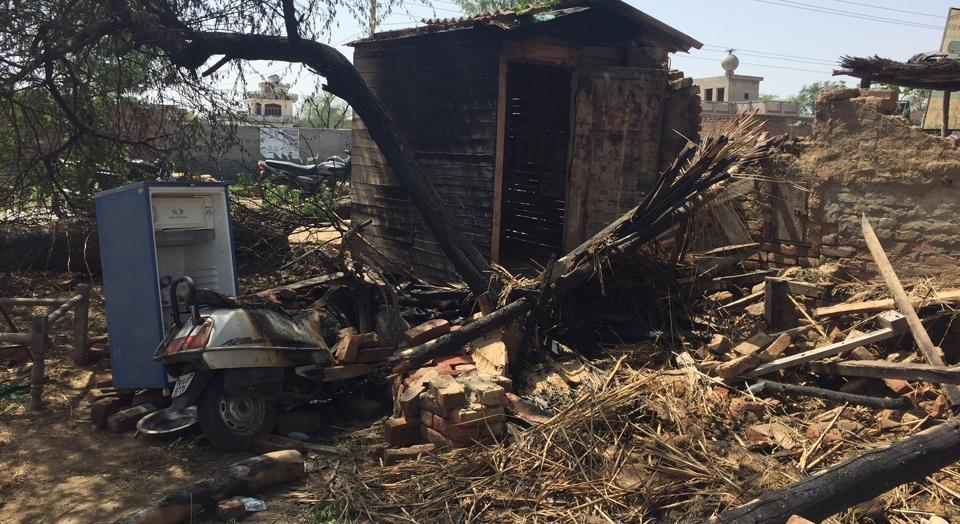 A sawmill and other items that were gutted in Faridkot on Monday.
