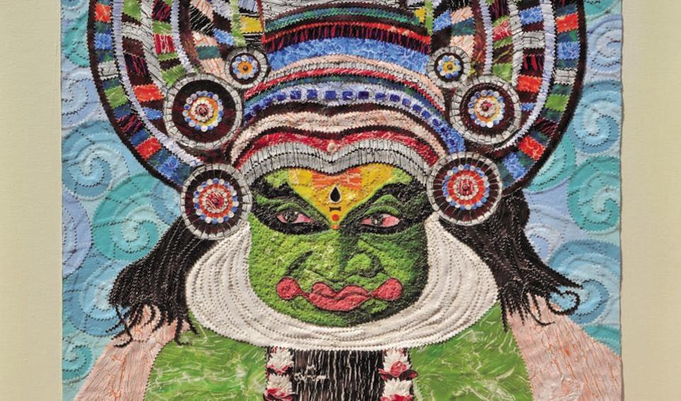 A canvas collage depicting a Kathakali dancer.