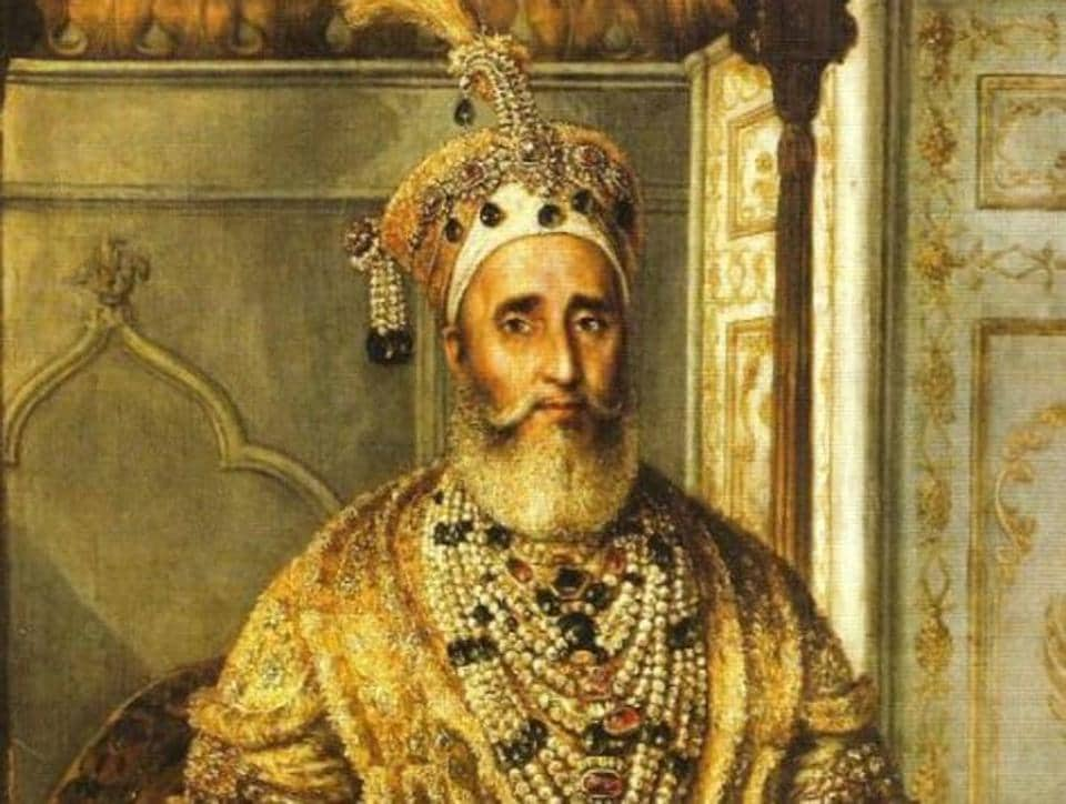 Bahadur Shah Zafar's oil portrait, painted in 1854 by Austrian artist August Schoefft, now in the fort of Lahore.