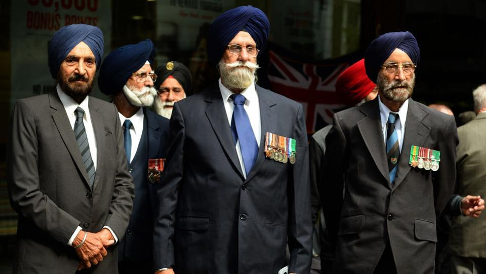 Indian Sikh war veterans and their families prepare to take part in the Anzac Day parade in Sydney. The 102nd anniversary of ANZAC Day was being held amid tight security in Gallipoli after the Australian government said earlier this month it had received information of a possible attack during the ceremony. (Peter Parks/AFP)