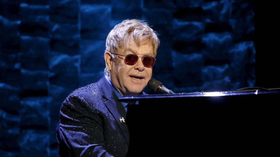 Singer Elton John performs at the Hillary Victory Fund I'm With Her benefit concert for US Democratic presidential candidate Hillary Clinton at Radio City Music Hall in New York City.