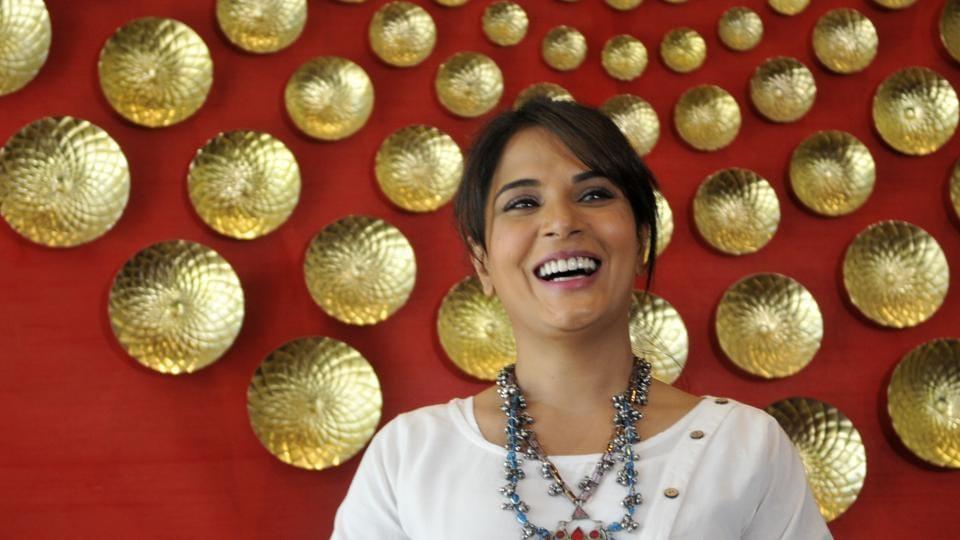 Actress and producer Richa Chadda at the screening of short film Khoon Aali Chithi, at a hotel in Chandigarh on Tuesday, April 25. (Karun Sharma/HT)