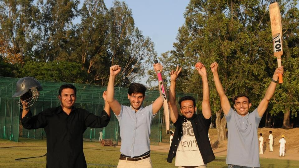 Afghan students who are fans Rashid Khan and Mohammad Nabi at Panjab University in Chandigarh.
