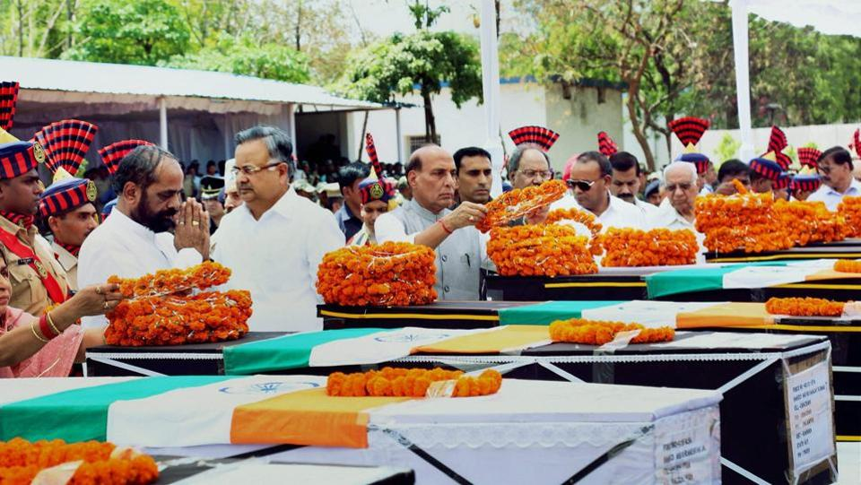 Home minister Rajnath Singh pays tribute to the CRPF jawans killed in the Maoist attack in Chhattisgarh's Sukma district, in Raipur.