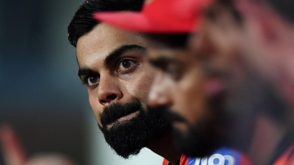 Royal Challengers Bangalore captain Virat Kohli reacts during the 2017 Indian Premier League (IPL) Twenty20 match vs Knight Riders at the Eden Gardens on April 23. RCB were all out for a record IPL low score of 49