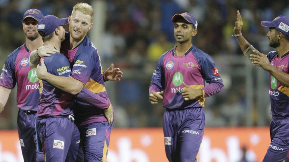 Rising Pune Supergiant players celebrate the wicket of Mumbai Indian Jos Buttler. (AP)