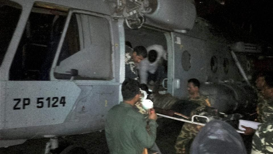 Injured CRPF jawans being airlifted to Raipur by an IAF chopper for treatment on Monday following a Maoist attack in Sukma district.